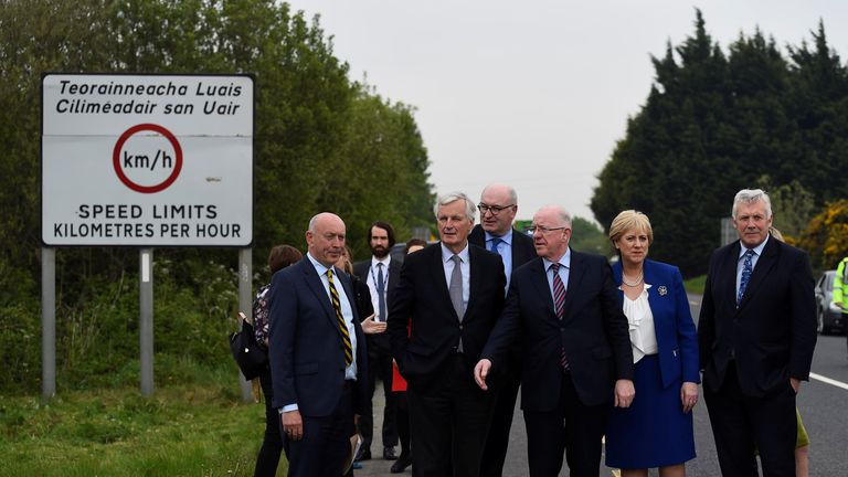 Michel Barnier visited the border between Northern Ireland and Ireland in May 2017