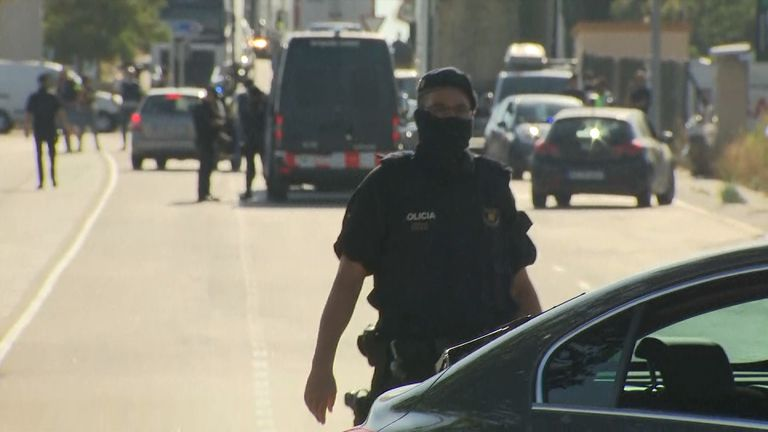 Spanish police at the scene in Subirats