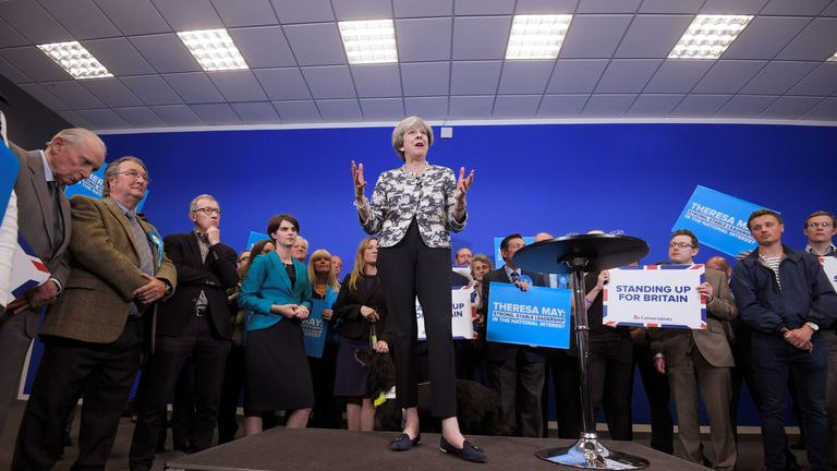 Theresa May at a campaign event in June