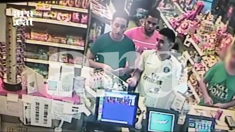 Three suspects shot dead in Spain during a terror attack were filmed on a petrol station's CCTV