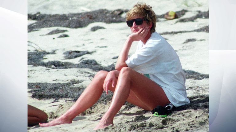 Jan 1993: Diana relaxes on the sand during a visit to the beach on the Caribbean Island of Nevis