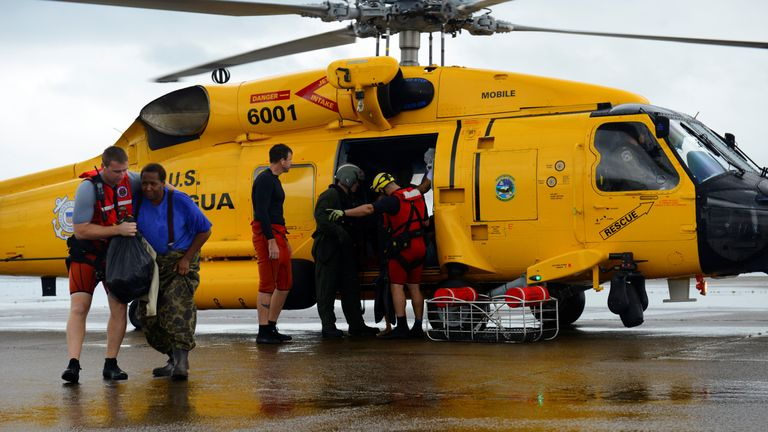 Helicopters have been used to airlift trapped residents to safety
