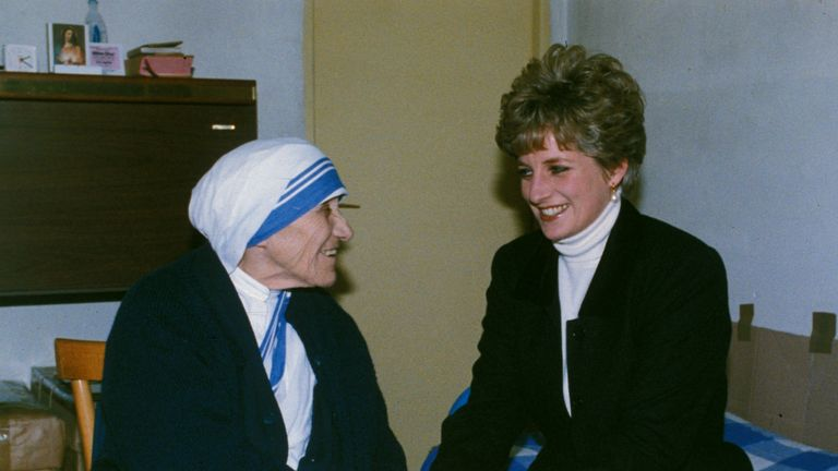 Feb 1992: Diana holds the hands of Mother Teresa at the Missionary Sisters of Charity residence in Rome