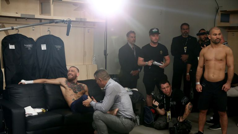 Conor McGregor pictured in his dressing room before the biggest fight of his career