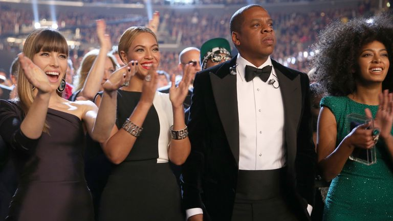 LOS ANGELES, CA - FEBRUARY 10: (L-R) Actress Jessica Biel, singer Beyonce, rapper Jay-Z and singer Solange Knowles attend the 55th Annual GRAMMY Awards at STAPLES Center on February 10, 2013 in Los Angeles, California. (Photo by Christopher Polk/Getty Images for NARAS)
