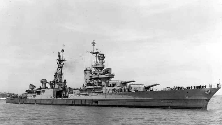 The Portland-class heavy cruiser USS Indianapolis (CA 35) underway in Pearl Harbor in 1937. The ship was sunk on July 30, 1945 by an Imperial Japanese submarine. Pic: US Navy