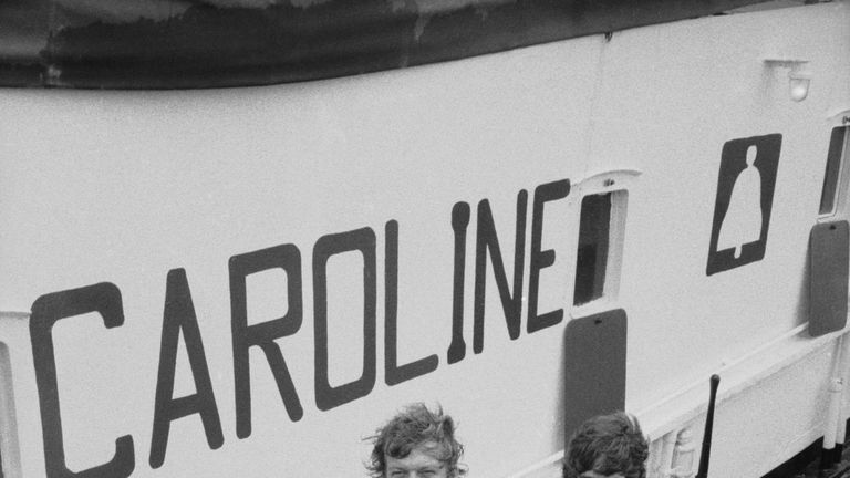 DJs Robbie Dale (left) and Johnnie Walker, of ship-based pirate radio station Radio Caroline at Felixstowe after the British government outlawed the station under the Marine Broadcasting Offences Act, 14th August 1967