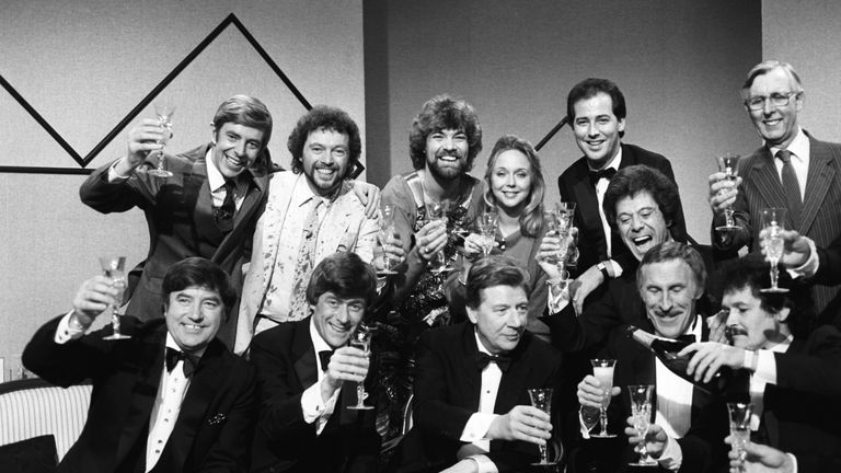 (Back L-R) Henry Kelly, Jeremy Beadle, Matthew Kelly, Sarah Kennedy, Michael Barrymore, Lionel Blair. (Front L-R) Jimmy Tarbuck, Mike Yarwood, Max Bygraves, Bruce Forsyth and Bobby Ball in 1983