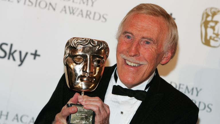 Sir Bruce with his academy fellowship award at the 2008 British Academy Television Awards