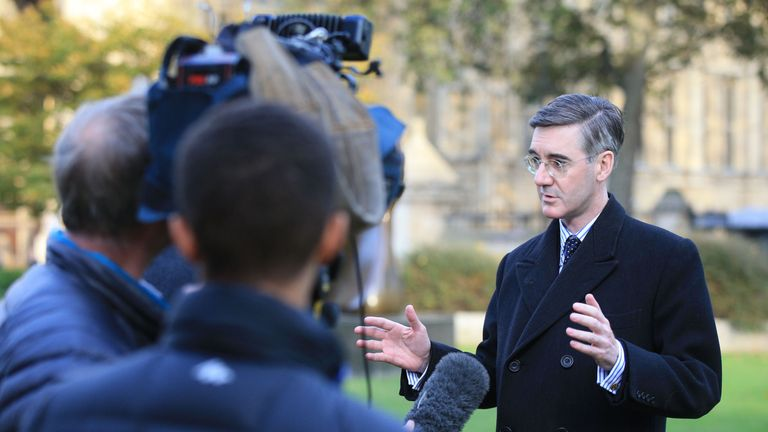 Conservative MP Jacob Rees-Mogg on College Green