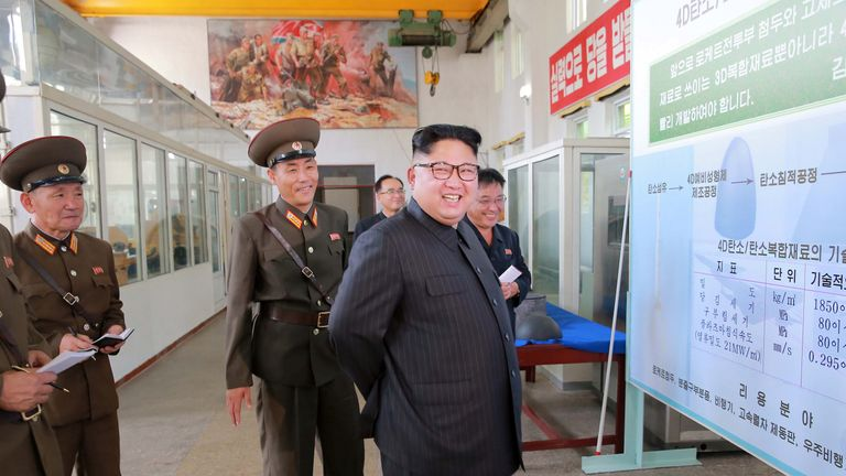 Kim Jong Un inspects work at a North Korean munitions factory