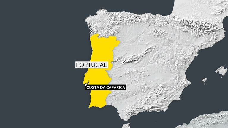 The plane is reported to have crashed at Caparica, about 20 miles south of Lisbon.