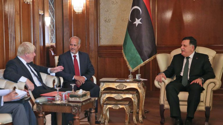 Fayez al-Sarraj, PM of the Libyan Government of National Accord, meets with Boris Johnson