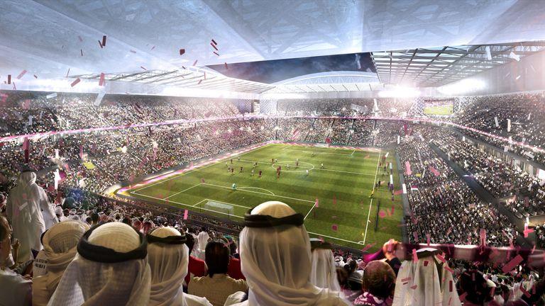 Computer-generated artists' impression of Qatar 2022 World Cup venue, the Al Rayyan Stadium, in Al-Rayyan