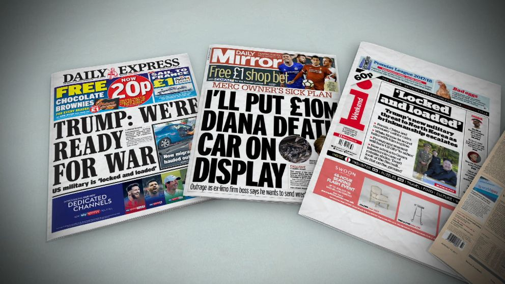 Saturday's front pages