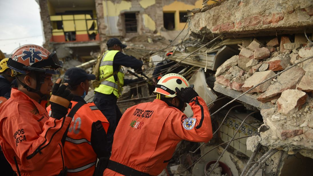 The team searches for survivors after the 8.2 Mexico quake on 8 September