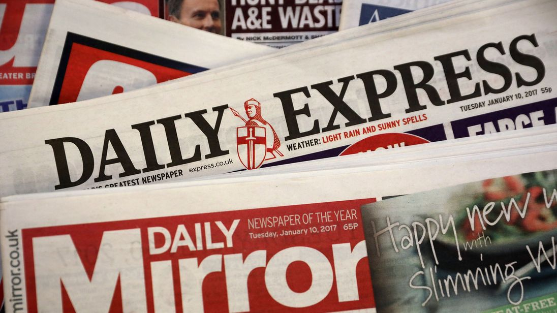 The Daily Mirror and Daily Express newspapers