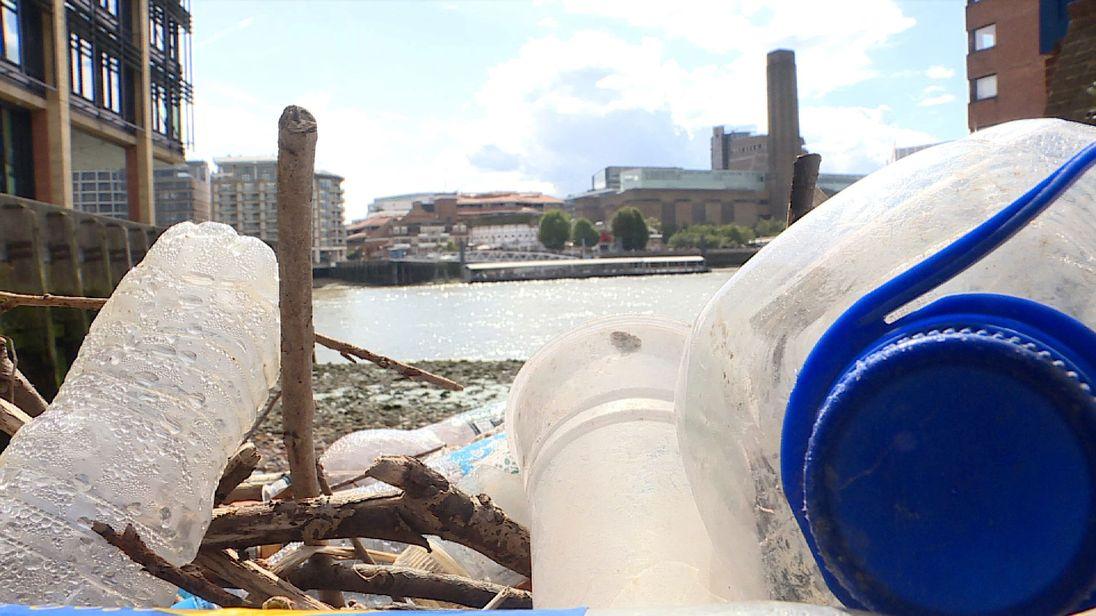 Bottles washed up on Thames