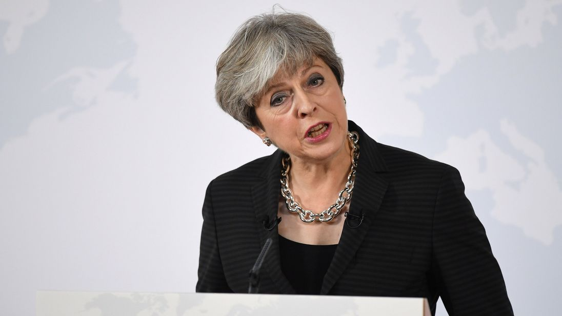 Theresa May gives a debate in Complesso Santa Maria Novella, Florence, Italy