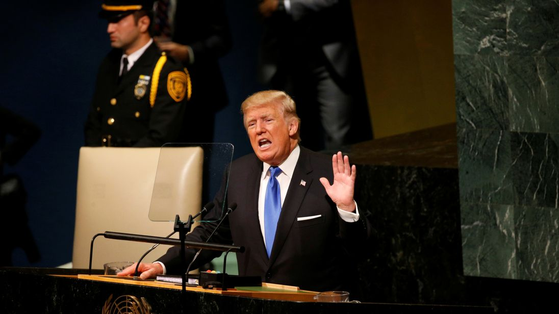 Donald Trump delivers his address to the United Nations General Assembly in New York