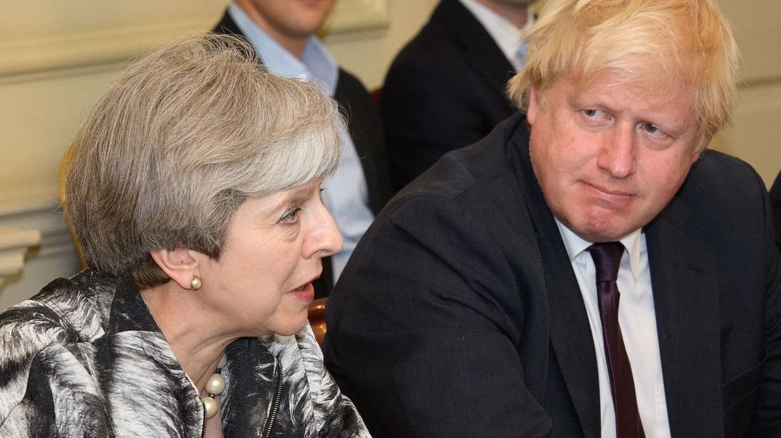 Theresa May with Boris Johnson