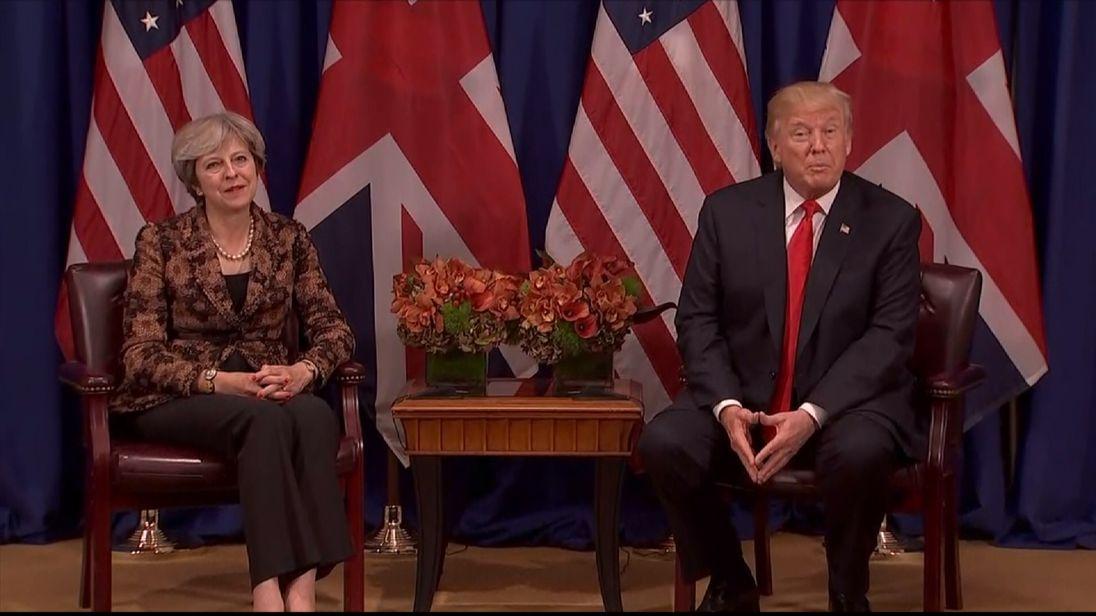 Theresa May and Donald Trump in meeting at the UN.