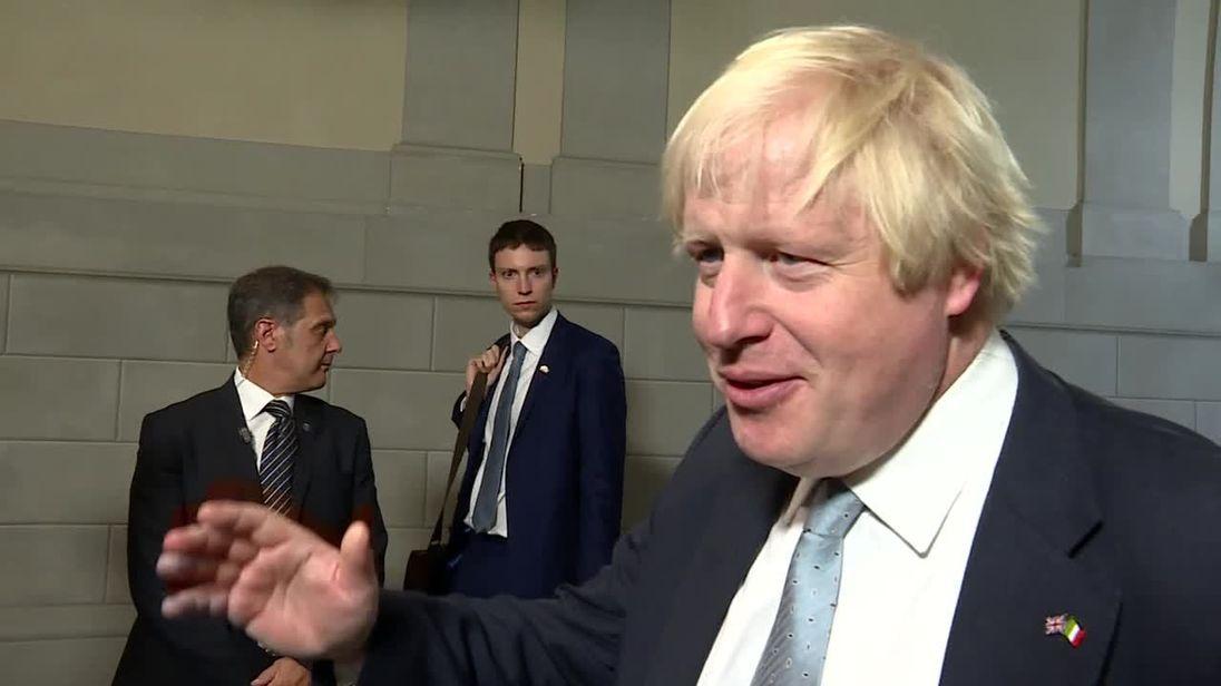 Boris Johnson talks to Sky News after Theresa May's key Brexit speech