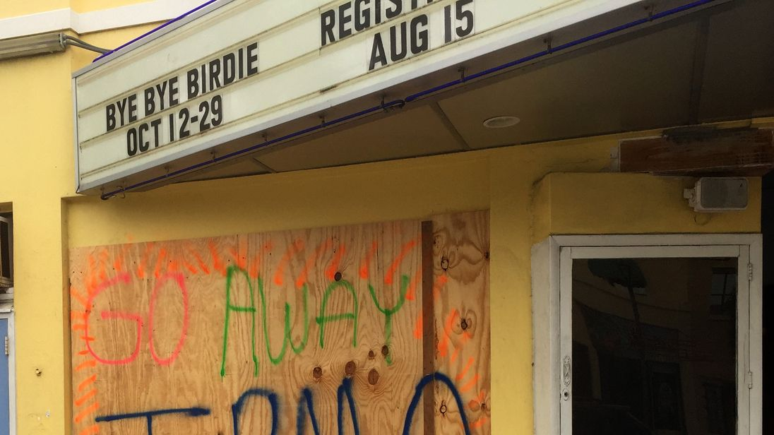Residents leave a message for Hurricane Irma as it approaches Florida