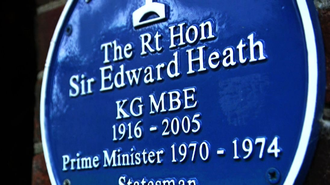 Edward Heath plaque in Adam Boulton's interview with exhibition about UK route into the EEC.