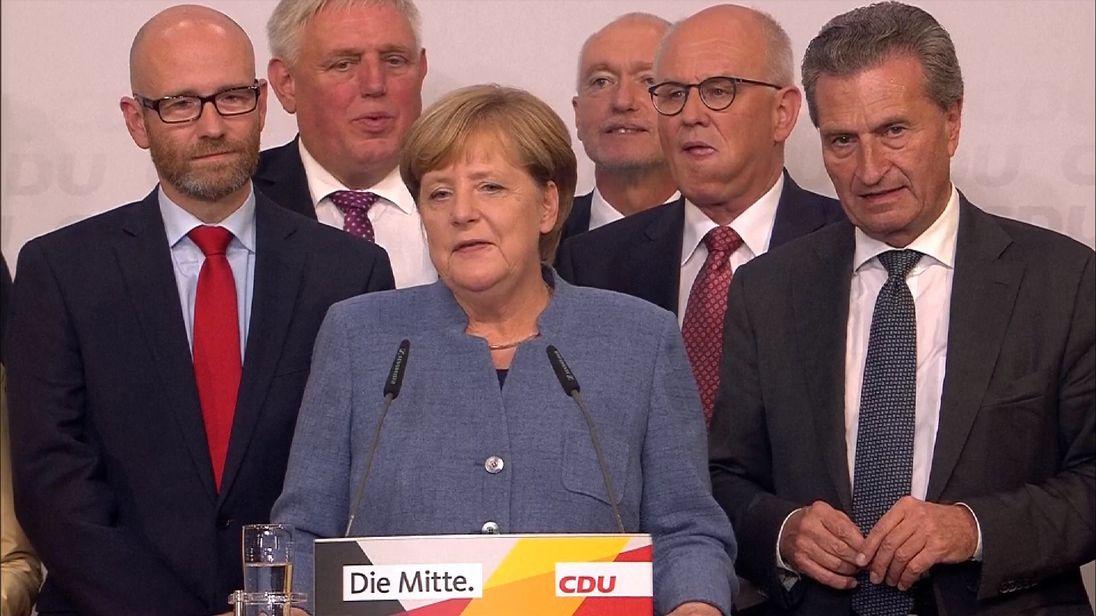 Angela Merkel gives her victory speech in Berlin