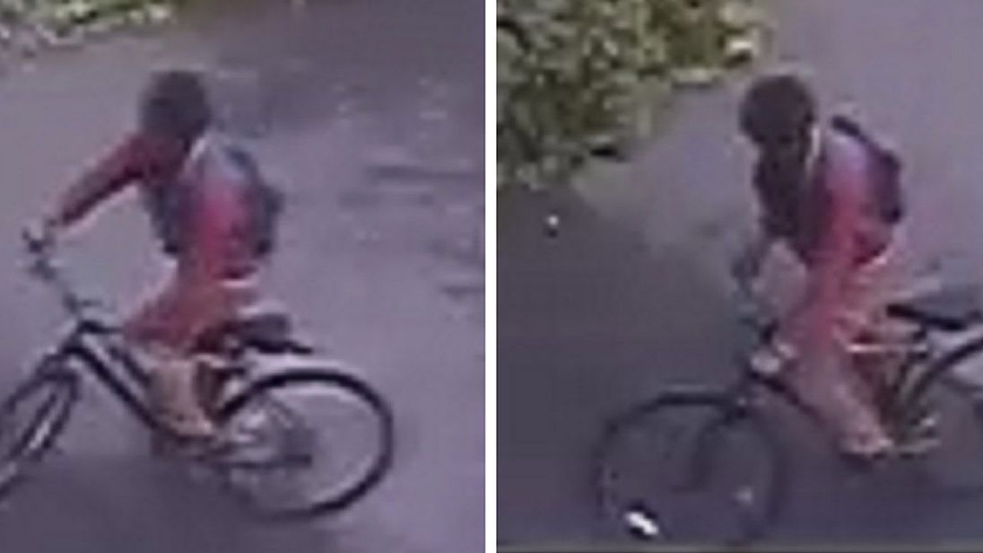 CCTV shows a man wanted for questioning after 14-year-old girl was raped