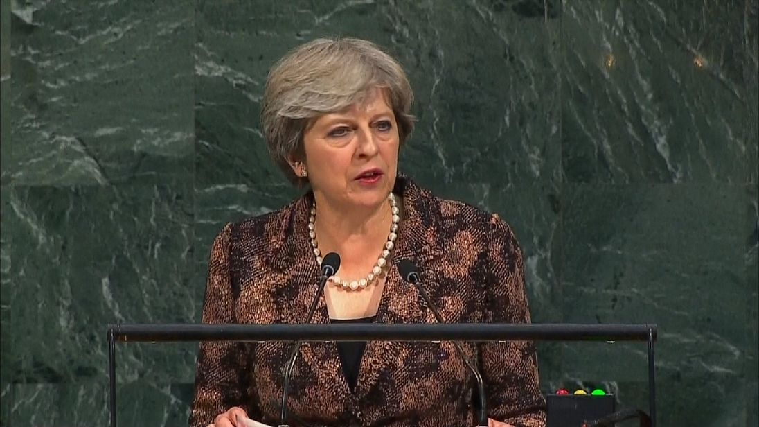 Theresa May at UN General Assembly in New York