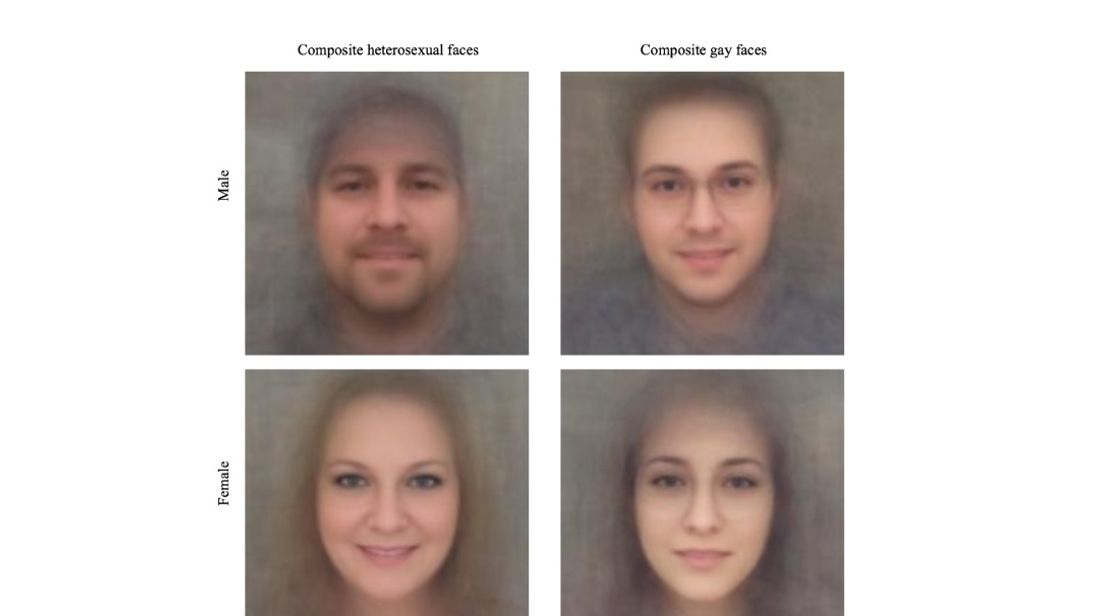 Composite faces of hetero- and homosexual Caucasian men and women