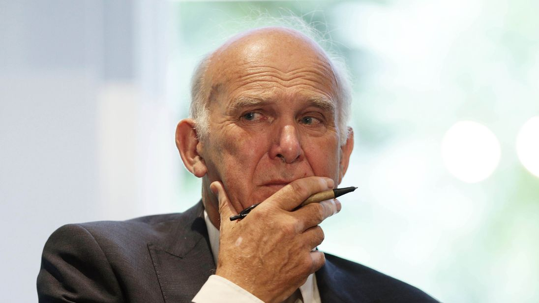 Liberal Democrat leader Sir Vince Cable after making a speech in central London