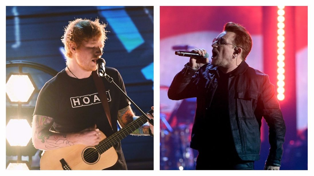 A split of Ed Sheeran and Bono after the news both artists are cancelling concerts in St Louis over a police killing protest