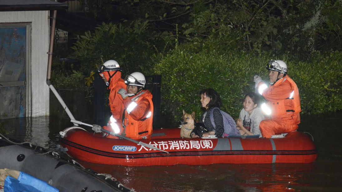 Residents evacuated in Oita, Japan