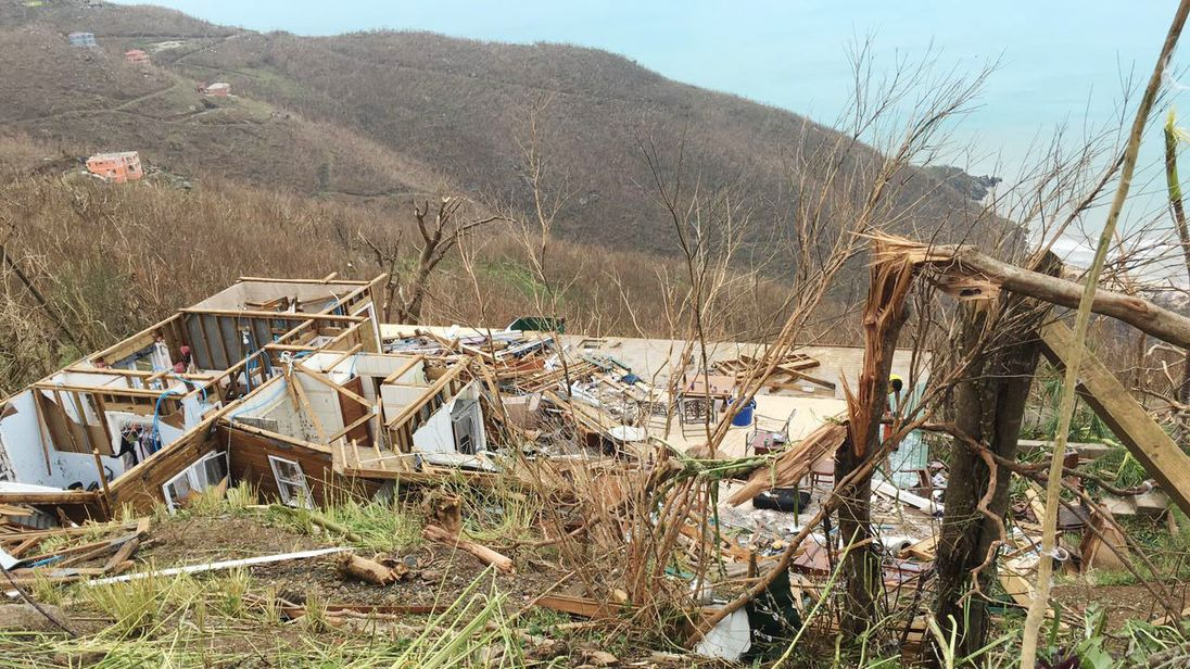 A house badly damaged by Hurricane Irma in the British Virgin Islands