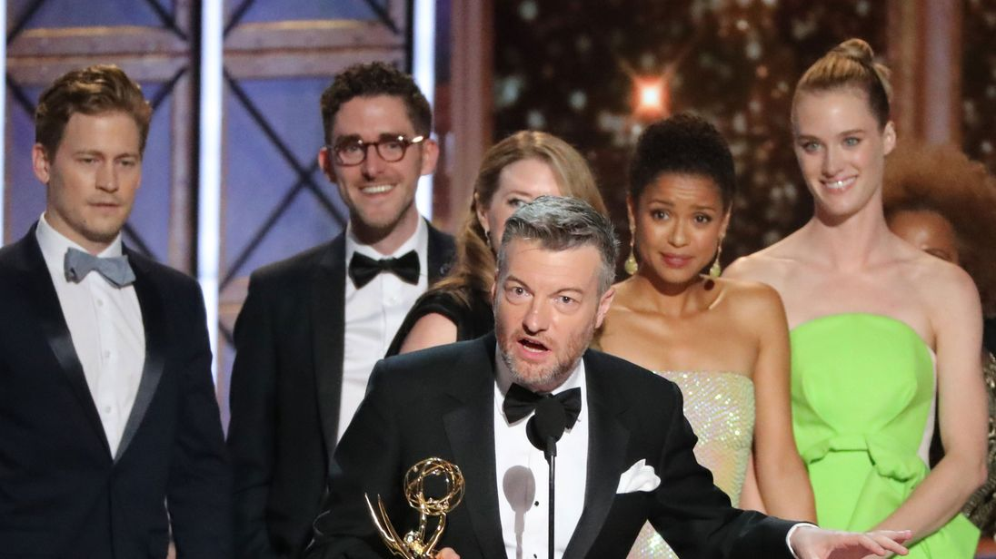 Charlie Brooker accepts the award for outstanding TV movie for Black Mirror: San Junipero