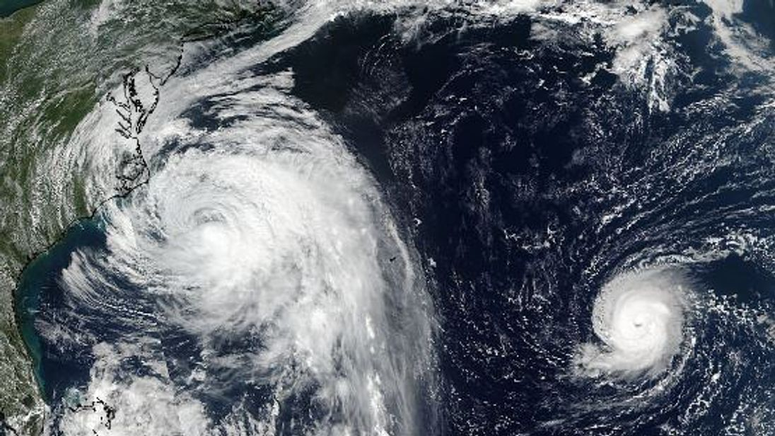 The two storms are currently east of Canada. Pic: NASA
