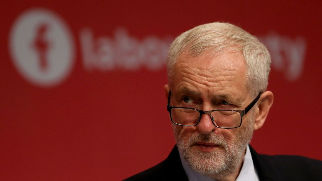 Labour Party leader Jeremy Corbyn listens to speeches during their annual conference in Brighton