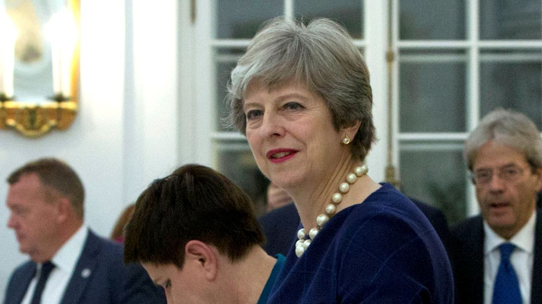 Theresa May along with the 27 other EU leaders at a working dinner in Tallinn