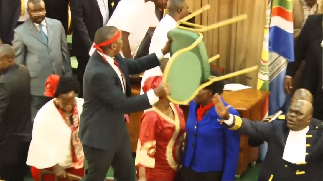 Fighting breaks out in Uganda's parliament