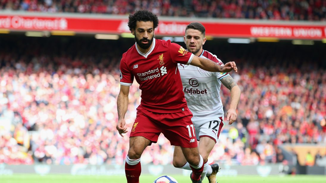 Mohamed Salah is put under pressure from Robbie Brady