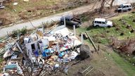Storm damage is seen from the air after hurricane Irma passed Tortola, in the British Virgin Islands