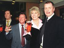 Melvyn Bragg with Coronation Street stars Johnny Briggs and Liz Dawn, and Tony Warren