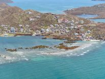 Buildings damaged by hurricane Irma are seen from the air on the British Virgin Islands