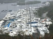 Boats lie crammed against the shore in Paraquita Bay as the eye of Hurricane Irma passed Tortola, British Virgin Islands