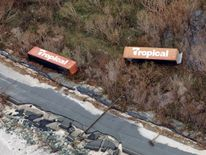 Toppled shipping containers and destroyed road in St. Croix, U.S. Virgin Islands