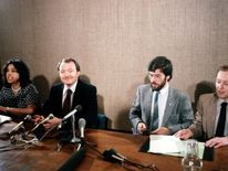 July 1983: Adams with Greater London Council leader Ken Livingstone at County Hall