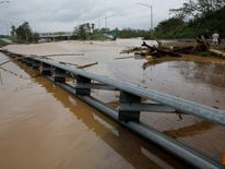 A flooded expressway in Yauco, Puerto Rico